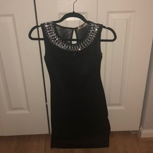 Arden B black dress with pearl and crystals